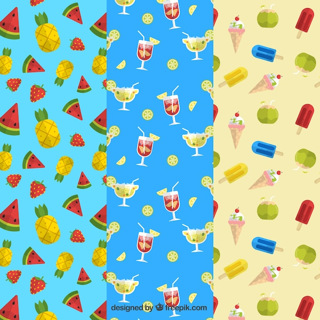 Great collection of summer patterns with\ drinks, fruits and ice creams