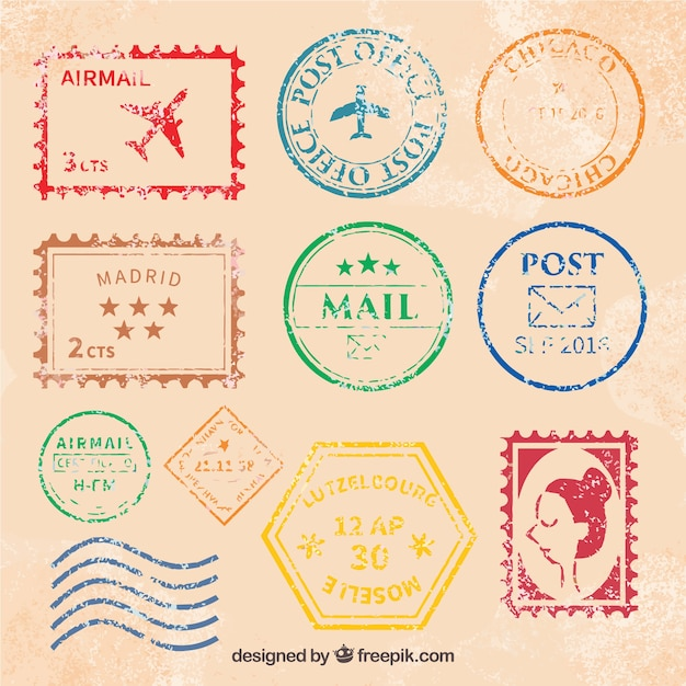 great collection of vintage post stamps vector free download