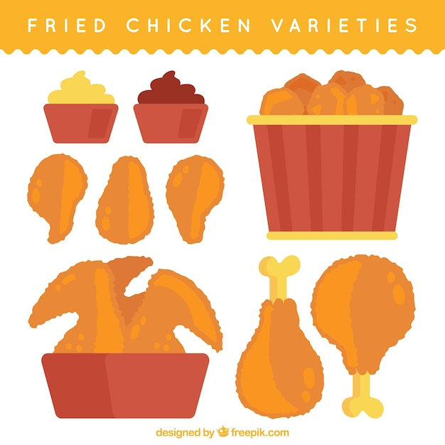 Great collection of tasty fried chicken Premium Vector