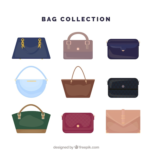 Great collection of woman's bags Free Vector