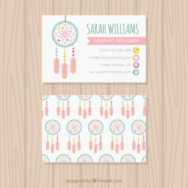 Great corporate card with dreamcatchers Free Vector