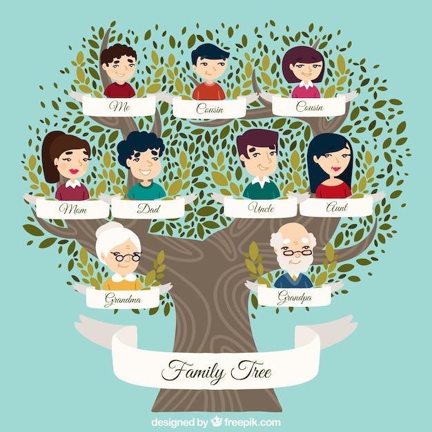 Great family tree with decorative leaves in\ green tones