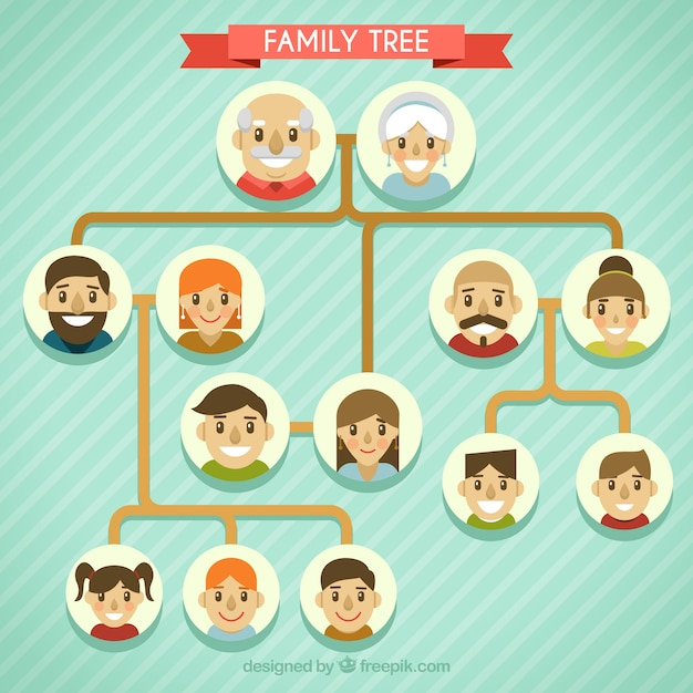 Great family tree with smiling characters in\ flat design