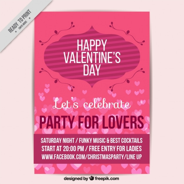 Great flyer template for valentine's day Free Vector