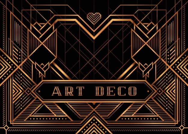 The great gatsby deco style vector, golden roses and heart Premium Vector