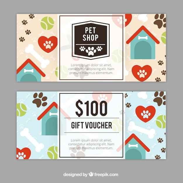 Great gift coupons with kennels Vector | Free Download