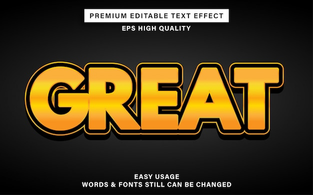 Great gold text effect Premium Vector