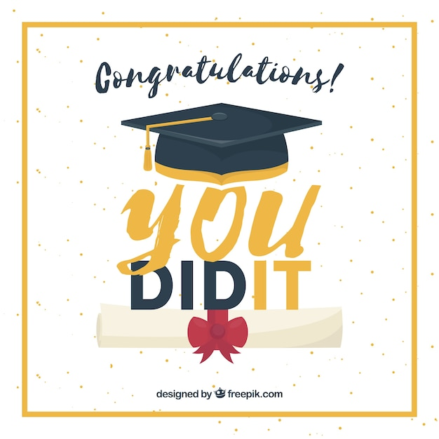 Great graduation background with diploma, biretta and golden frame Free Vector