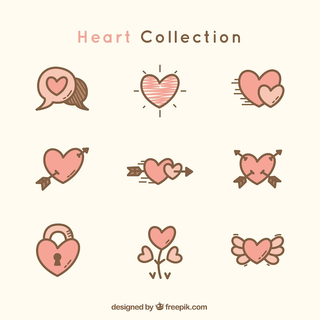 Great heart collection Free Vector