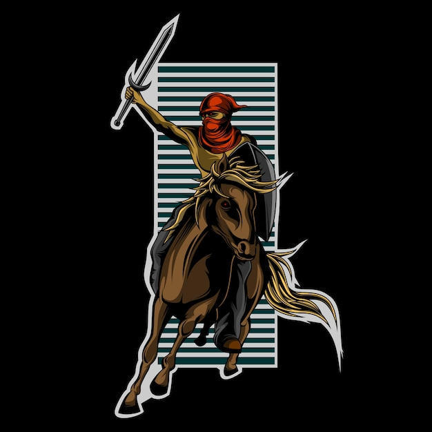 Great horseman Premium Vector