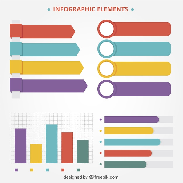 Great infographic elements with variety of colors Free Vector