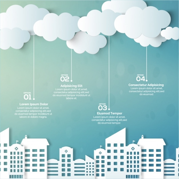 Great infographic with buildings and clouds Premium Vector