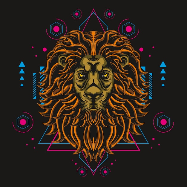 The great lion sacred geometry Premium Vector