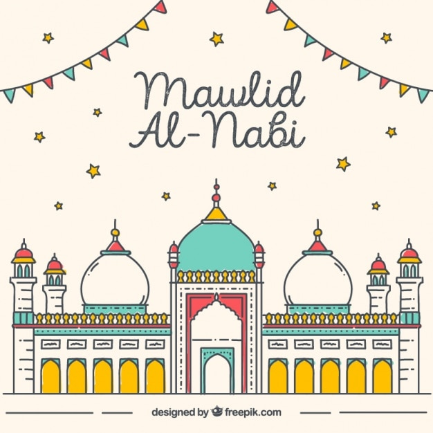Great mawlid background of colorful mosque Free Vector