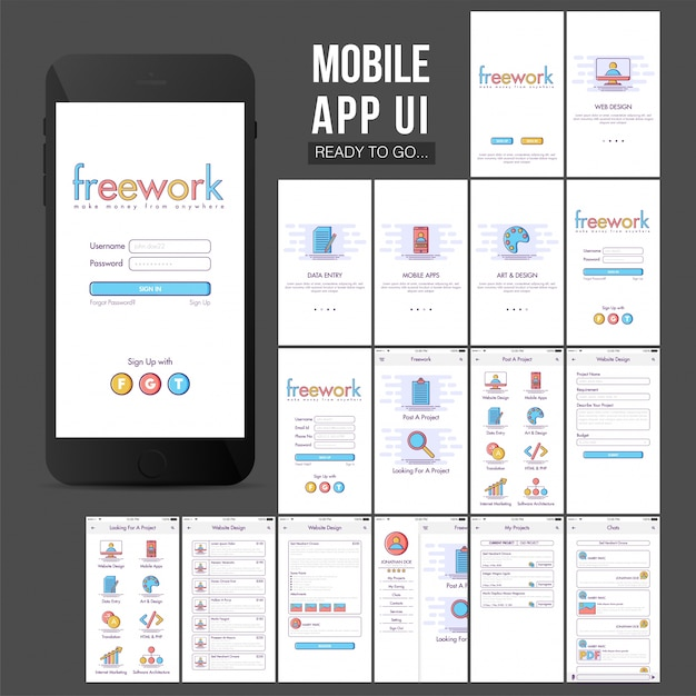 Great mobile app design with colored elements Premium Vector