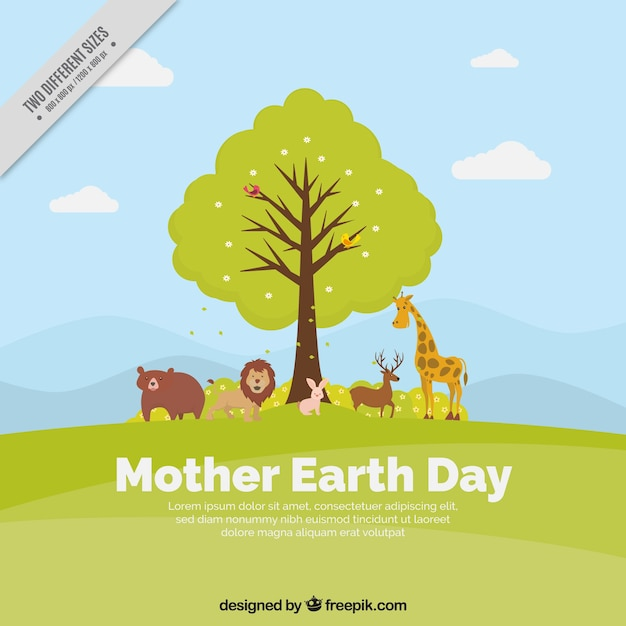 Great mother earth day background with tree and animals Free Vector