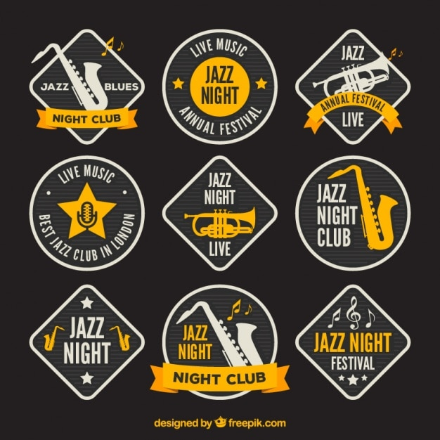 Great music badges with yellow details Free Vector