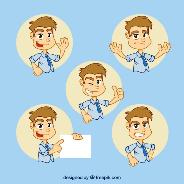 Great pack of businessman character with fantastic facial expressions Free Vector