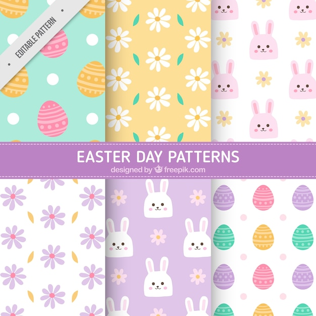 Great pack of decorative patterns for easter day Free Vector