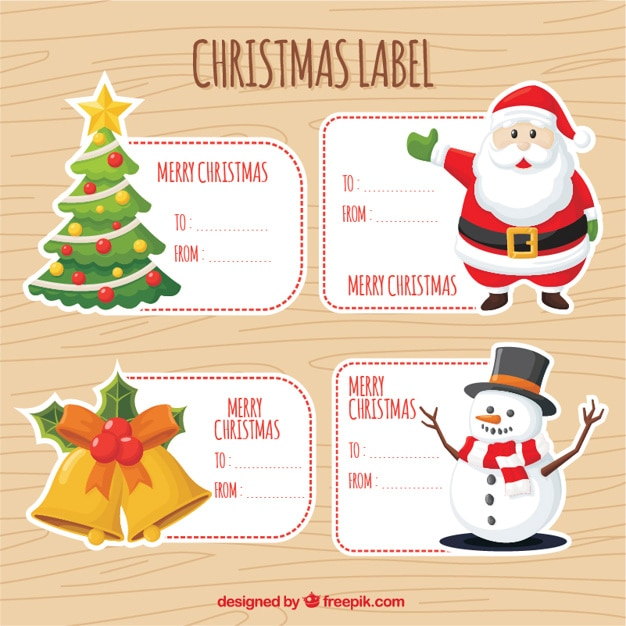 Great pack of decorative stickers with christmas items Free Vector