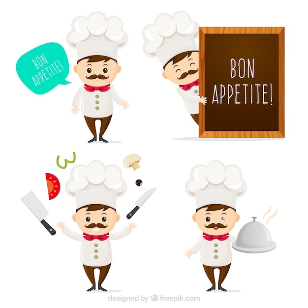Great pack of expressive chef character Free Vector