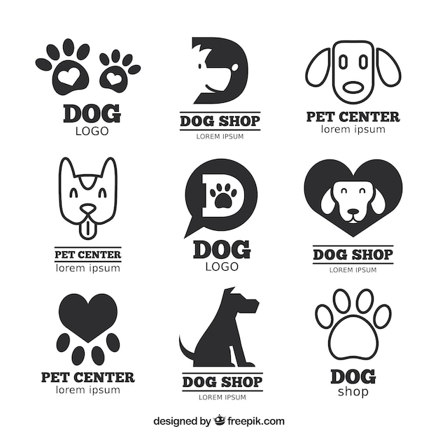 Great pack of flat logos with dogs and tracks Free Vector