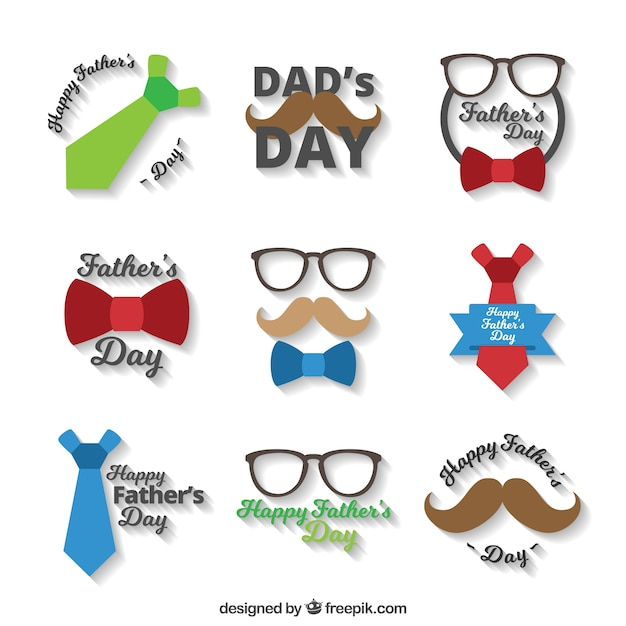 Great pack of flat stickers for father's day Free Vector