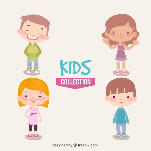 Great pack of happy kids Free Vector