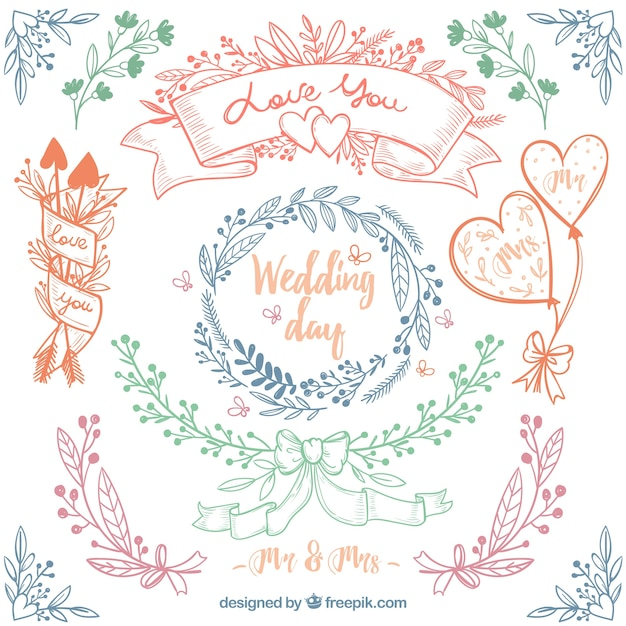 Great pack of four hand-drawn floral wedding frames Premium Vector