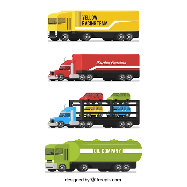 Great pack of trucks in flat design