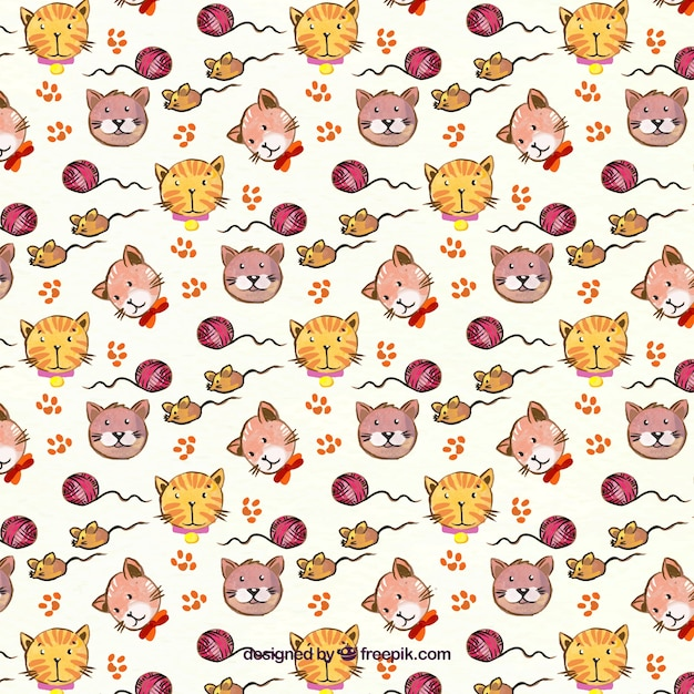 Great pattern with dogs and cats Free Vector