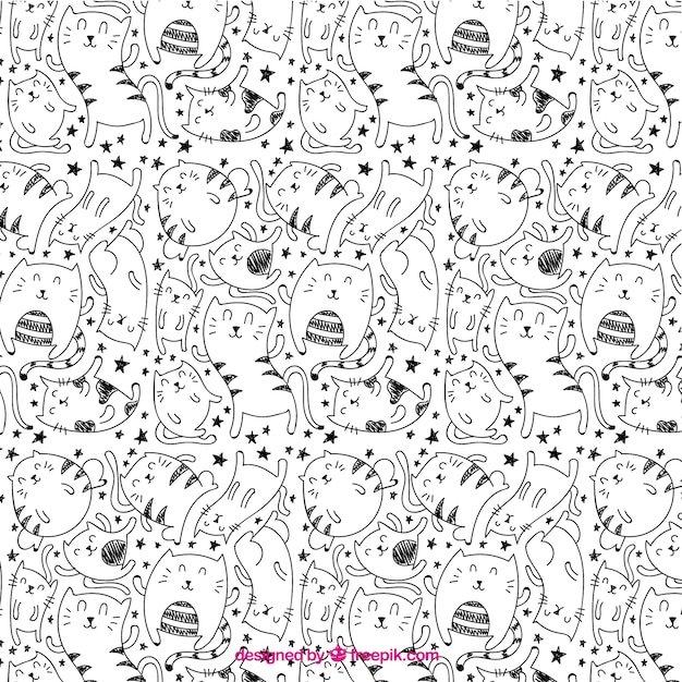 Great pattern with nice cats Free Vector