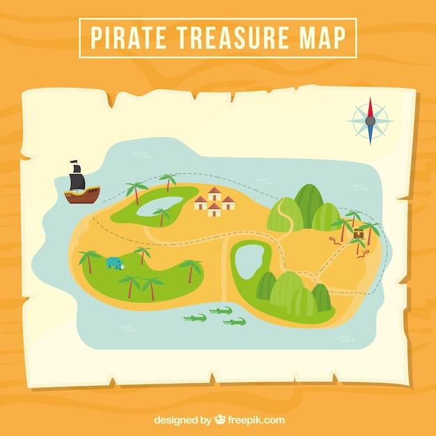 Great pirate treasure map Free Vector