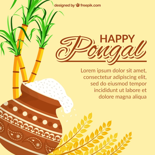 Great pongal background with sugarcane and rice in flat design Premium Vector
