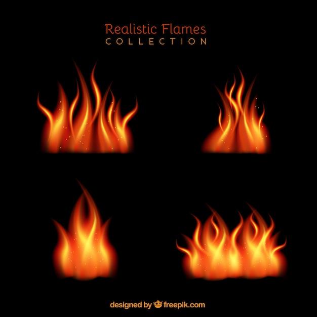 Great realistic flames in orange tones Vector | Free Download