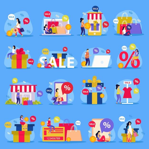 女性ショッピングストア販売と抽象的な説明図で設定された素晴らしい販売フラットアイコン 無料ベクター