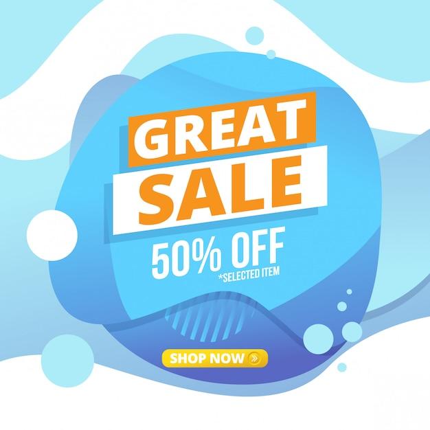 Great sale liquid banner design Premium Vector