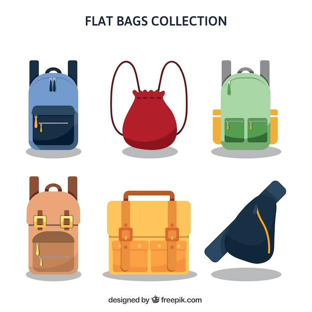 Great selection of backpacks in flat style Free Vector