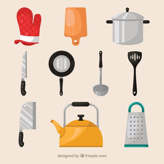 Great selection of flat cook elements Free Vector
