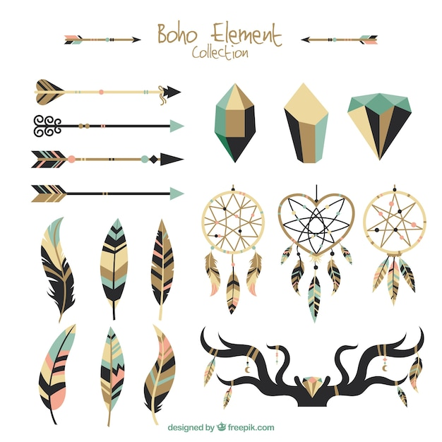 Great selection of flat ethnic elements Free Vector