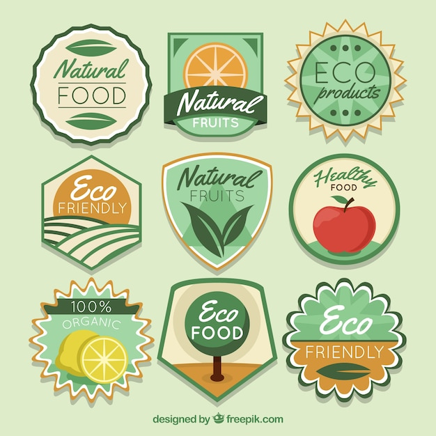 Great selection of colored organic food stickers