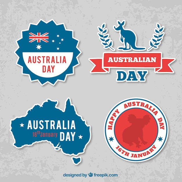 Great set of australia day stickers Free Vector