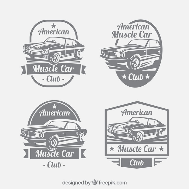 Great set of car logos in retro style Free Vector