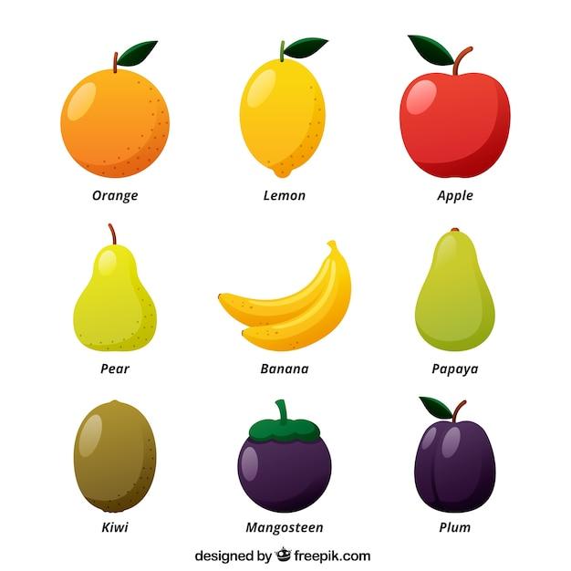 Большой набор цветных плодов в плоском дизайне Бесплатные векторы