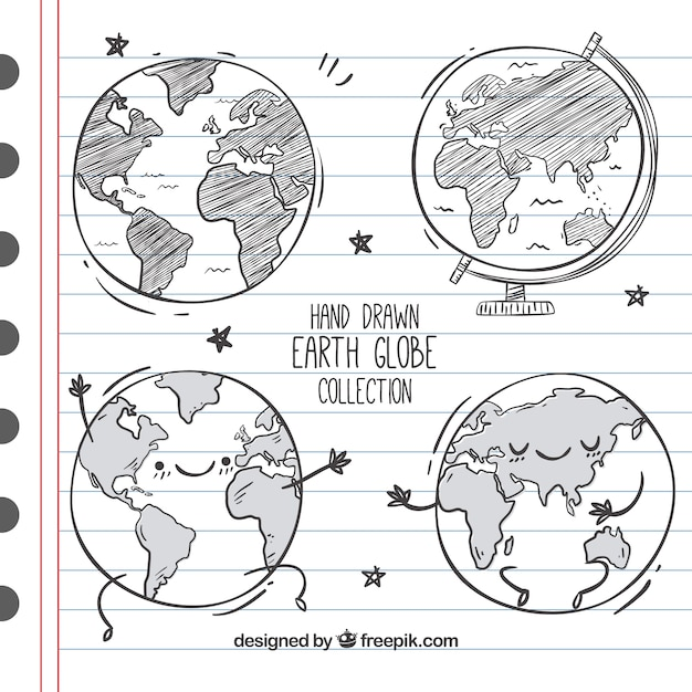 Great set of four hand-drawn earth globes Free Vector