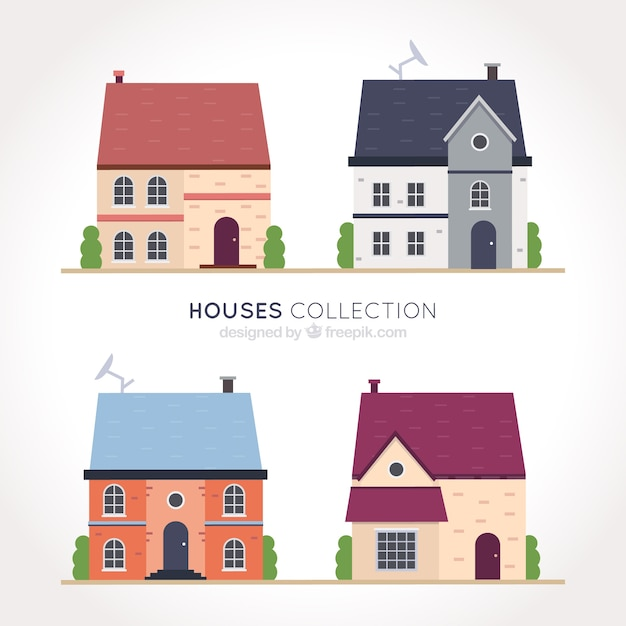 Great set of four houses facades in flat design
