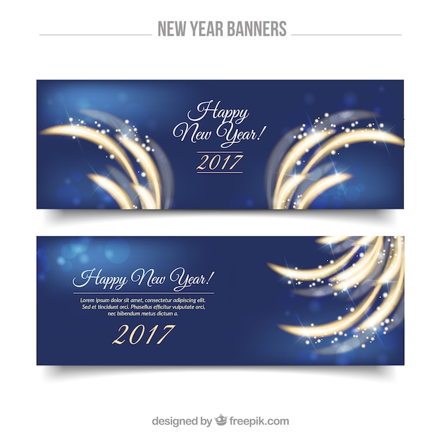 Great shiny banners for new year Free Vector