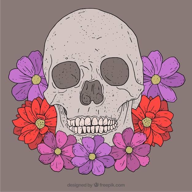 Great skull with purple and red flowers in\ hand-drawn style