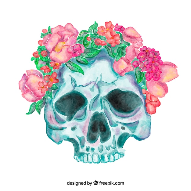 Great skull with watercolor flowers in pink\ tones