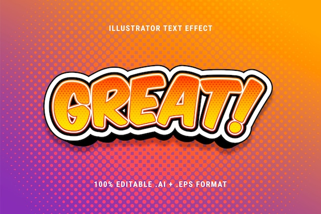 Great text effect with halftone dots Free Vector